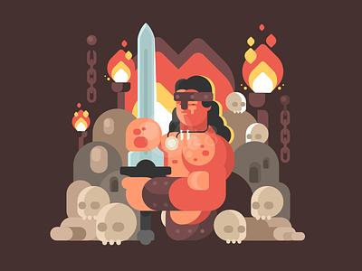 Barbarian skull fire barbarian sword warrior man illustration vector flat kit8