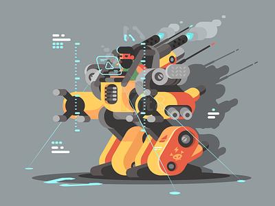 Exoskeleton character man technology robot exoskeleton illustration vector flat kit8