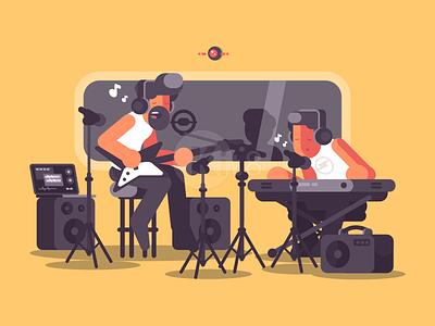 Music studio recording guitar record radio music studio illustration vector flat kit8