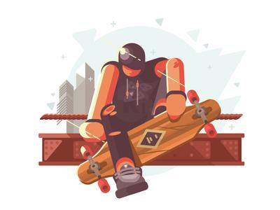 Guy with longboard city urban board longboard skate guy man character illustration vector flat kit8