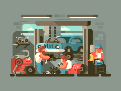 Auto service character garage auto repair service car illustration vector flat kit8