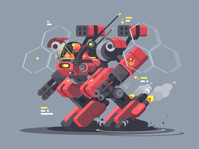 Military exoskeleton future man character robot exoskeleton military illustration vector flat kit8