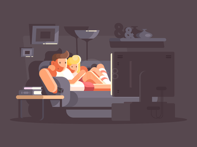 Family watching TV icon room cinema night character tv family illustration vector flat kit8