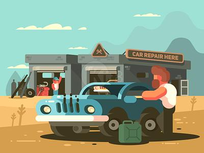Auto service man gasoline repair auto car character illustration vector flat kit8