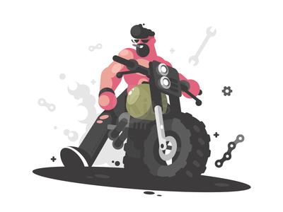 Biker motorcycle guy man moto biker character illustration vector flat kit8