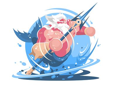 Poseidon illustration vector flat kit8