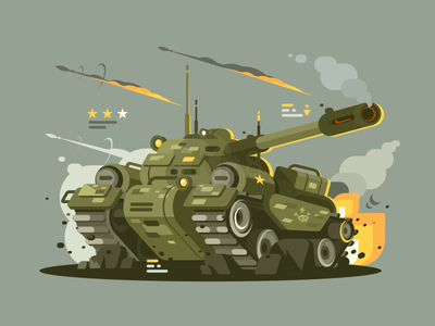 Tank cannon fire battle war military tank illustration vector flat kit8