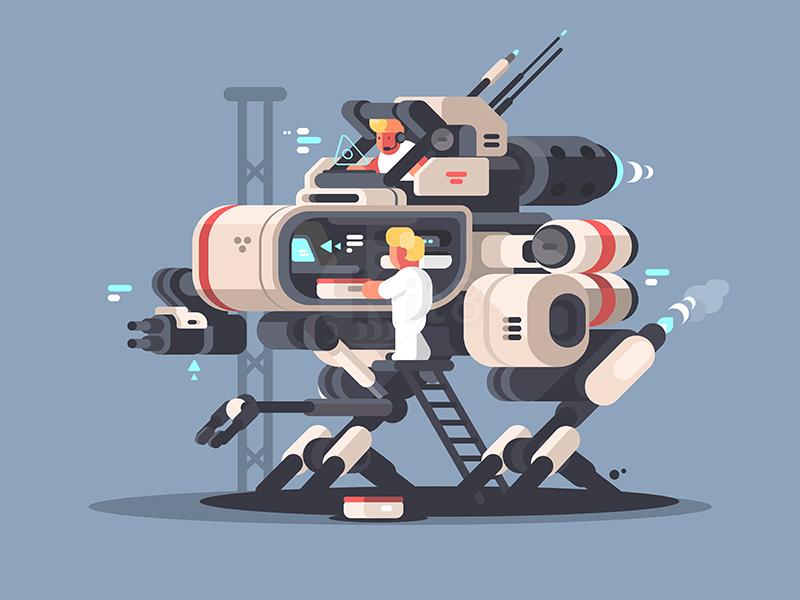 Medical exoskeleton future character medicine exoskeleton robot kit8. flat. vector. illustration