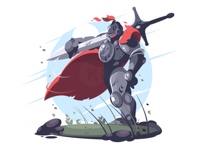 Knight man sword character medieval knight illustration vector flat kit8