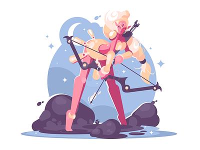 Elf girl warrior girl woman bow fantasy elf illustration vector flat kit8