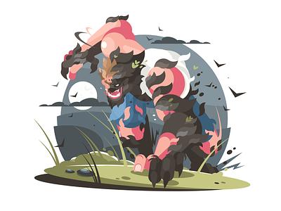 Werewolf night moon man character werewolf illustration vector flat kit8