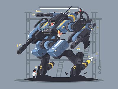 Military exoskeleton military warrior exoskeleton character man robot illustration vector flat kit8