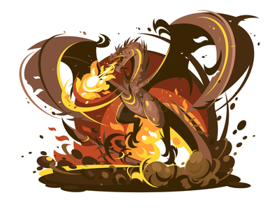 Dragon wings fire dragon character illustration vector flat kit8