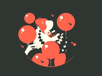 Evil clown character man balloons fear scary horror clown illustration vector flat kit8