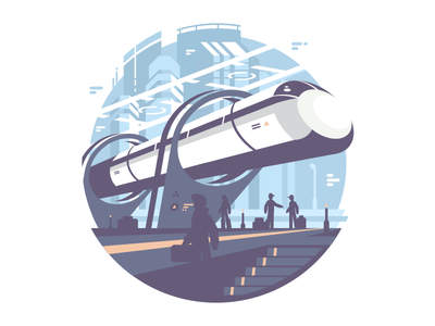 Hyperlup future transport station fast train illustration vector flat kit8