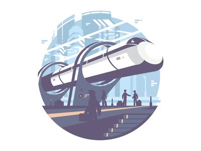 Hyperlup future transport station fast train illustration vector flat kit8