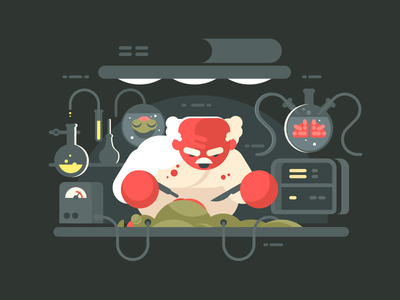 Evil professor evil alian autopsy man character science illustration vector flat kit8