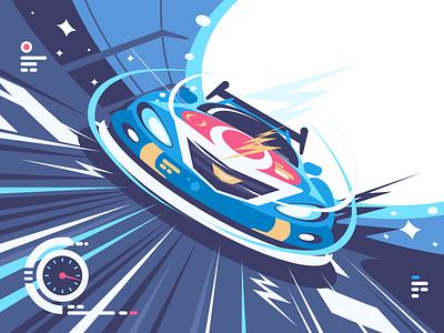 NASCAR Racing fast stadium icon front speed illustration vector flat kit8 race car