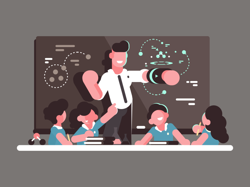 School teacher man hologramб character future lesson school illustration vector flat kit8