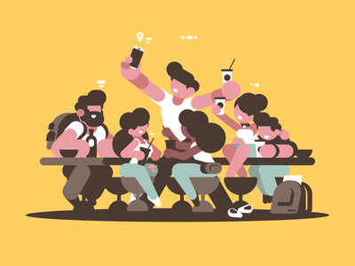 Friends in cafe guy boy girl group cafe friends illustration vector flat kit8