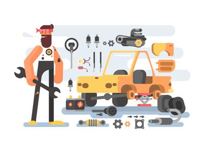 Car disassembly character man disassembly repair service car illustration vector flat kit8
