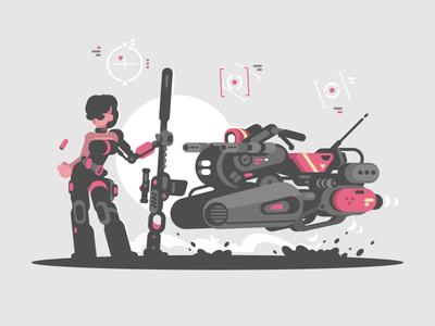 Girl cyborg motocycle future girl woman cyborg illustration. character vector flat
