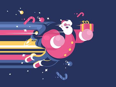 Flying Santa character fly gift present christmas new year santa illustration vector flat kit8