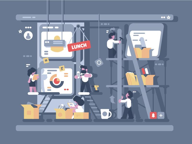 Teamwork ui manage task process workflow character work team illustration vector flat kit8