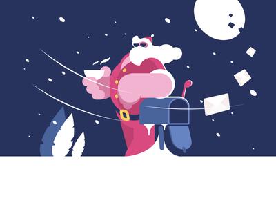 Cool Santa character mail box letter christmas new year santa illustration vector flat kit8