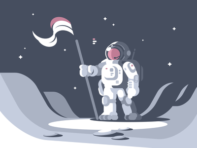 Astronaut flag icon man moon suit space character astronaut illustration vector flat kit8