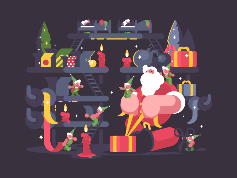 Santa and elves helpers kit8 flat vector illustration santa claus present elf character gift box