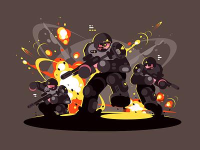 Soldiers landing explosion helmet man character soldier future war illustration vector flat kit8