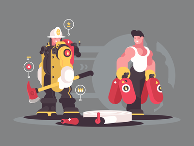 Firefighters protect guy man character fighter fire illustration vector flat kit8