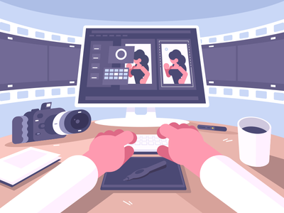 Photo designer table camera edit workspace workplace character designer photo illustration vector flat kit8