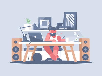 Freelancer indoors speakers laptop workspace place work man freelance character illustration vector flat kit8