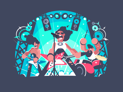 Rock band instruments music song sing character stage band rock illustration vector flat kit8