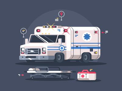 Ambulance car stretcher track medicine car ambulance illustration vector flat kit8