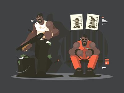Prisoner man character crime gun jail prisoner illustration vector flat kit8