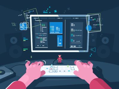 Programming illustration vector flat kit8 software information computer programming coding development