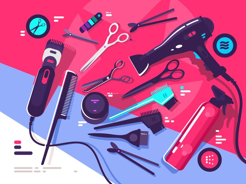 Hairdressing tools scissors brush hairbrush dryer hair tool hairdressing illustration vector flat kit8
