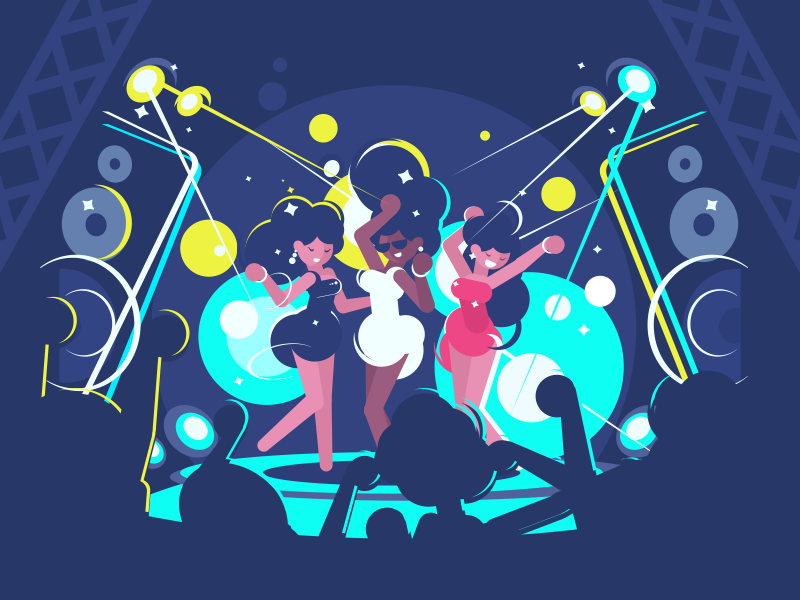 Dans club illustration vector flat kit8 character glowing dancing discotheque girl music disco nightclub