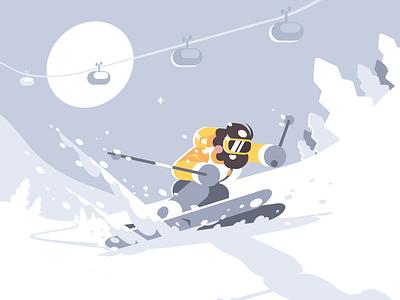 Skier character extreme mountain skier sport winter ski snow illustration vector flat kit8