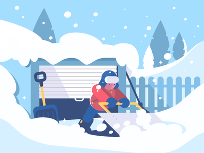 Snow Cleaning guy cleaning spade character garage shovel snow winter illustration vector flat kit8
