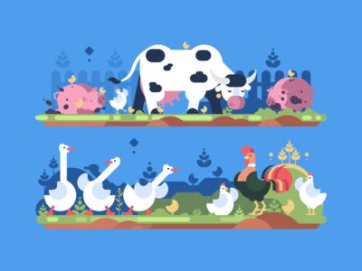 Farm hen animal goose rooster bird farm pig cow illustration vector flat kit8