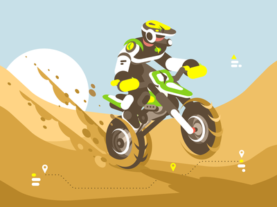 Enduro character race extreme desert ride motorcycle motorcyclist illustration vector flat kit8