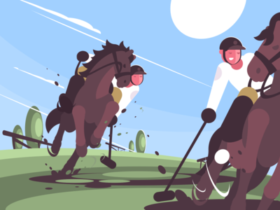 Polo character field rider mallet riding player horse polo illustration vector flat kit8