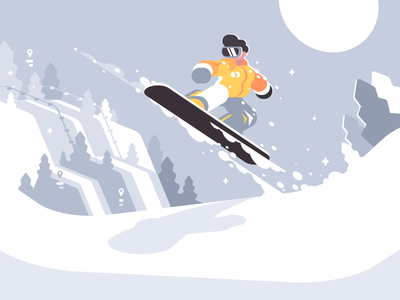 Snowboarder illustration vector flat kit8 character slope jump extreme guy sport winter snowboard