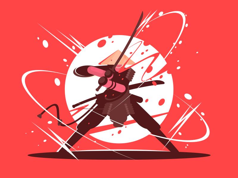 Samurai character weapon fight japanese katana warrior sword samurai illustration vector flat kit8