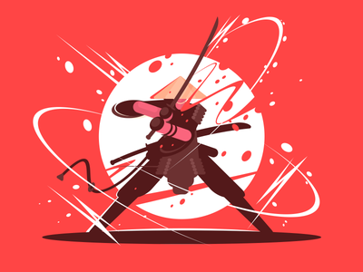 Samurai character weapon fight japanese katana warrior sword samurai illustration vector flat kit8