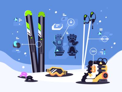 Ski Equipment illustration vector flat kit8 mask glove boot accessories stick gear ski equipment